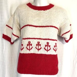 JANTZEN Vintage Anchor HAND KNITTED Sweater Red  M